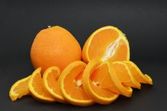 Oranges  on a black background Royalty Free Stock Image