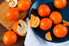 Oranges on the blue plate on dark wooden table. Oranges on the blue plate on dark wooden table Royalty Free Stock Images