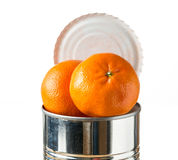 Oranges bursting out of tin can Stock Image