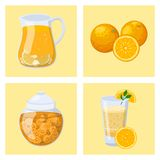 Oranges cards orange products illustration natural citrus fruit vector. Oranges cards and orange products illustration. Fresh natural citrus fruit vector set stock illustration