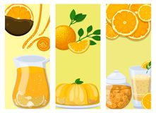 Oranges cards orange products illustration natural citrus fruit vector juicy tropical dessert beauty organic juice. Oranges cards and orange products stock illustration
