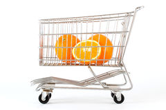 Oranges in a cart Stock Images