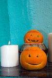Oranges with carved faces Royalty Free Stock Photos