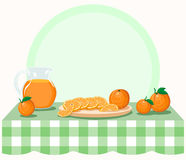 Oranges on checkered tablecloth Royalty Free Stock Images