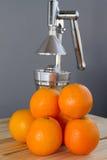 Oranges and chrome citrus juicer Royalty Free Stock Photos