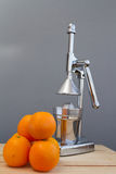 Oranges and chrome citrus juicer Royalty Free Stock Photography