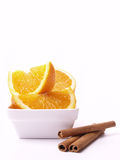 Oranges and cinnamon Stock Photos