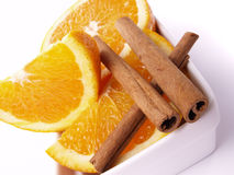 Oranges and cinnamon Royalty Free Stock Photos