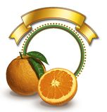 Oranges and circular frame. Oranges with circular frame and ribbon Royalty Free Stock Photography