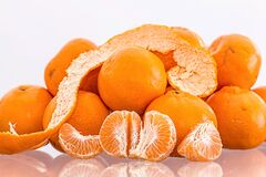 Oranges on Clear Table Stock Images