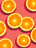 Oranges cut in half. Illustration of oranges cut in halves showing segments on a red background royalty free illustration