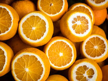 Oranges cut in half for food background Royalty Free Stock Photo
