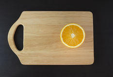 Oranges on cutting board. With napkin Stock Photos