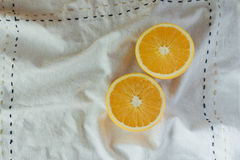 Oranges on cutting board. With napkin Royalty Free Stock Photography
