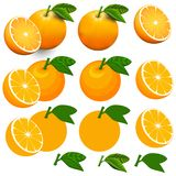Oranges d'isolement sur blanc avec le chemin de coupure photos stock
