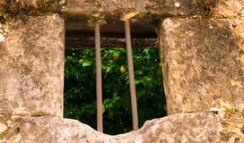 Oranges dans la vieille fenêtre image stock
