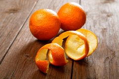 Oranges and dried peel  table Royalty Free Stock Images