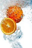 Oranges Dropped Into Water Royalty Free Stock Image
