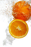 Oranges Dropped Into Water Stock Photo
