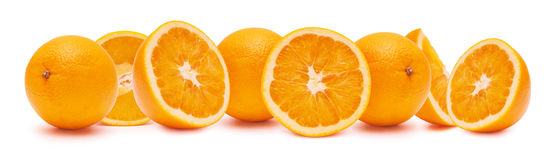 Oranges the entire and cutting. Royalty Free Stock Images