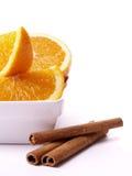 Oranges et cannelle Photo stock