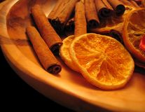 Oranges et cannelle Photo libre de droits