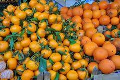 Oranges et mandarines sur un affichage de marché en plein air Images stock