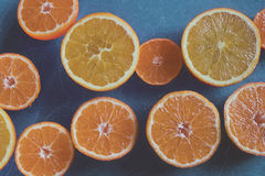 Oranges. A fistul of vitamins - Splitted oranges ready to be pressed for a juice Royalty Free Stock Photo