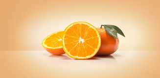 Oranges fruit and orange wedge Stock Image