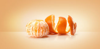 Oranges fruit and orange wedge Stock Photos