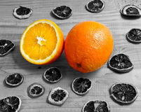 Oranges fruit on a woo Stock Images