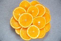 Oranges fruits on gray background Royalty Free Stock Photography