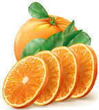 Oranges fruits with slices and leaves Royalty Free Stock Images