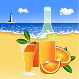 Oranges and a glass of juice on the beach Stock Photography