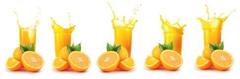 Oranges and glass of orange juice with splash stock images