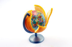 Oranges globes. Oranges with a stuffing of a planet on a white background stock photo