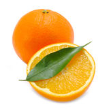 Oranges with Green Leaf Isolated on White Background Stock Photo