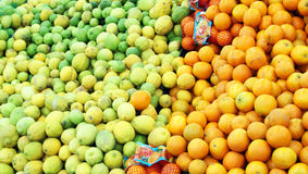 Oranges and green lemons. In boxes at the shop Stock Photos