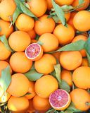 Oranges at grocery shop - tarocco blood orange - sanguine orange Stock Photography