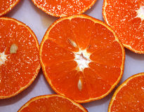 Oranges. Halves of oranges with seeds inside royalty free stock image