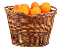 Free Oranges In Wicker Basket Isolated On White. Stock Image - 33933661