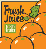 Oranges and inscription fresh juices Stock Images