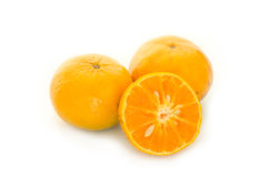 Oranges isolated. Two oranges and a half sliced on the white background Stock Image
