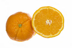 Oranges. Isolated Slices of Fresh Oranges cut in half Royalty Free Stock Photo