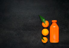 Oranges and Juice on Copy Space Stock Photography