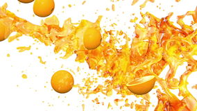 Oranges and Juice. 3D animation.