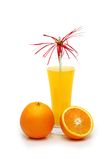 Oranges and juice isolated. On the white Stock Photography