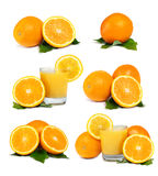 Oranges, Juice and Leafs Royalty Free Stock Image