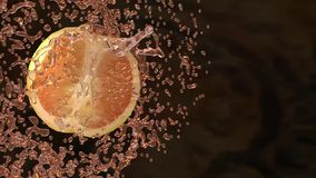 Oranges and juice splash stock video footage