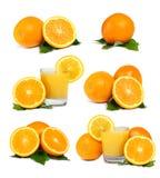 Oranges, jus et lames Image libre de droits